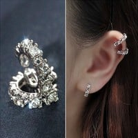 Round Stone Ring Ear Cuff (Single, No Piercing) | LilyFair Jewelry