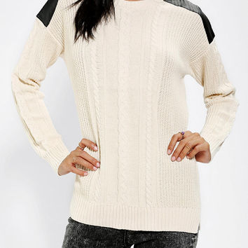 Urban Outfitters - Sparkle & Fade Vegan-Leather Patch Sweater