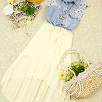 070309 Chiffon dress sleeveless denim vest828