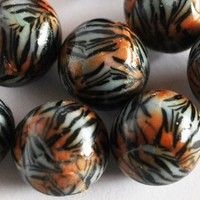 Beads Tiger Stripe Polymer Clay Round Handmade Orange Black White Fimo | bluemorningexpressions - Jewelry Supplies on ArtFire