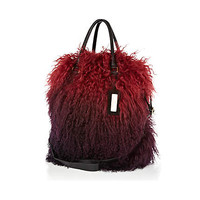Red ombre Mongolian fur tote bag