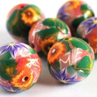 Beads Orange Purple Flower Pink White Stripe Polymer Clay Handmade | bluemorningexpressions - Jewelry Supplies on ArtFire