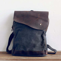 gray canvas backpack backpack  lesther  messenger by Leizistudio
