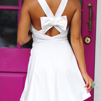 Bow Me Away Dress: White | Hope's