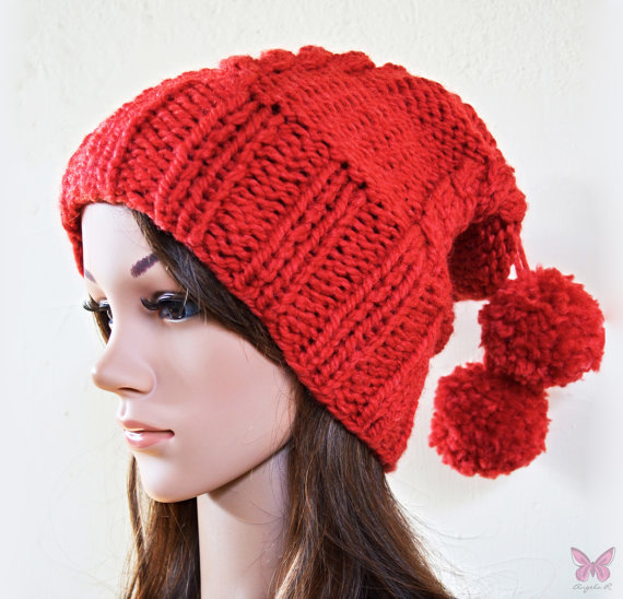 Pom Pom Beanie Knitting Pattern : Slouchy beanie hat with cable pattern and from BeanieVille on