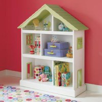 Kids' Bookcases: Kids White Dollhouse Shaped Bookcase