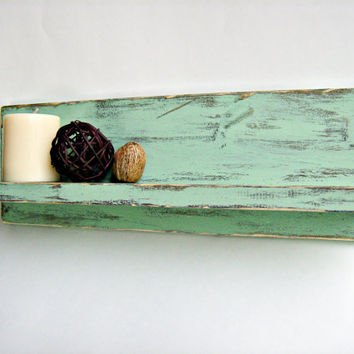 Light Green painted wood shabby chic cottage style home organization wall shelf bathroom decor