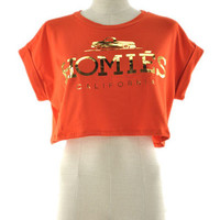 Homies California Crop Top - Orange + Gold -  $25.00 | Daily Chic Tops | International Shipping