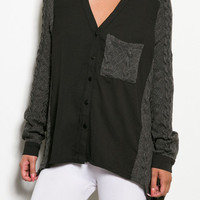 Hide Away Cable Knit Sweater Top - Grey + Black -  $39.00 | Daily Chic Tops | International Shipping