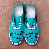 Birds on a Line Design on Mint Leaf LO-PRO VANS- Made To Order