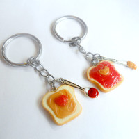 Peanut Butter and Jelly Heart Keychain Set, With Knife & Spoon, Best Friend's Keychains, Cute :D
