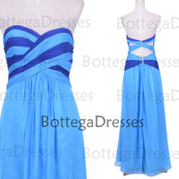 Long Strapless Chiffon Blue Prom Dresses, Wedding Party Dresses, Blue Homecoming Dresses
