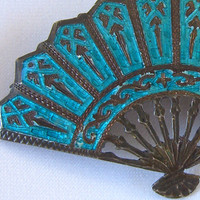 Vintage Siam Brooch Sterling Silver. Turquoise Enamel Niello Fan Pin Antique Jewelry.