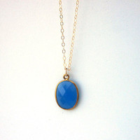 Blue Chalcedony Necklace, Blue Bezel, Bezel Connector, Chalcedony Necklace, Gold Jewelry, Gold Filled, Fine Jewellery, Gold Necklace,