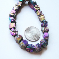Mystic Titanium Natural Pyrite Rough Cube Nugget Squares Beads Druzy Look 8 inch Strand 8mm-12mmx10mm