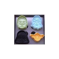 Star Wars Press-and-Stamp Cookie Cutters, Set of 4 Heroes and Villains: Yoda, Darth Vader, Boba Fett and Stormtrooper