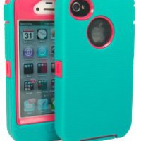 Iphone 4 4g 4s Defender Body Armor Case Teal on Red Comparable to Otterbox Defender + Pink Cure Wrist Band and Colorful Stylus Only By Big Deals Plus