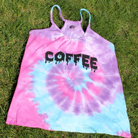 drippy COFFEE tie dye braided tank (large)