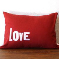LOVE  12 x 16 PILLOW COVER and INSERT by NestaHome on Etsy