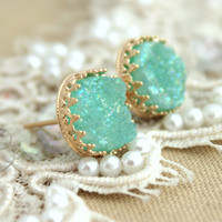 Mint Druzy studs earrings Green seafoam - 14k Gold filled Crown Lace setting gemstone jewelry.