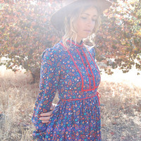 Prairie Dress Vintage 70s Dark Blue Paisley Calico Boho Hippie Dress (xs)