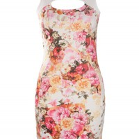 Cream Pink Floral Keyhole Dress | Dresses | Desire