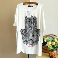 Hand Of Buddha Printing Loose T-shirt