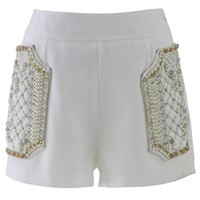 Diamond Pearly Pockets White Shorts