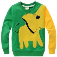 Cartoon Elephant Cotton Hoodie For Kids