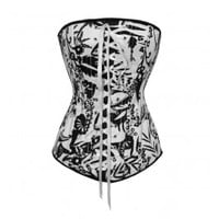 A3521 - White Corset with Black Flower Design and Zip Closure