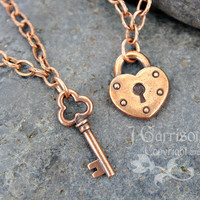 Key to my heart necklace set -- couples and lovers edition - two necklaces in antiqued copper