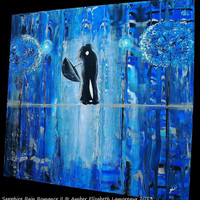 "Large Extra Deep Original Painting Sapphire Rain Romance II 24"" x 24"" x 2 1/2"" Surreal Modern Art Rainy Amber Elizabeth Couple Kiss"