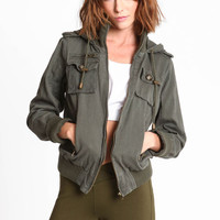 HOODED BAND OLIVE JACKET