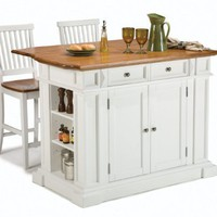 Kitchen Island  Two Stools by Home Styles - White and distressed Oaked (5002-948)