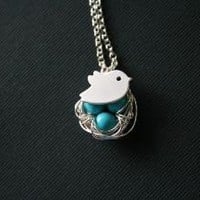 Baby bird on turquoise bird nest by DelicacyJ on Etsy