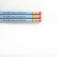 do something outrageous pencils 3 in blue. make note jotting, diary scribbling, and test taking fun again.