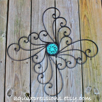 Metal Wall Decor /Aqua /Distressed Patio Decor by AquaXpressions