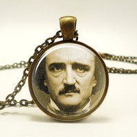 Edgar Allan Poe Necklace, Gothic Jewelry, Bronze (0379B1IN) | CellsDividing - Jewelry on ArtFire