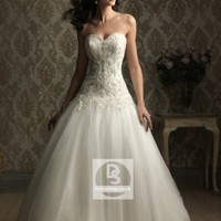 Ball Gown Sweetheart Crystal Embroidery Satin Chapel Train Wedding Dress at Dresseshop