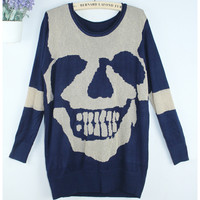 A 083020 Skull hollow bat sleeve sweater