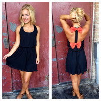 Black Dress with Orangey Red Double Bow Back