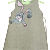 Girls dress in grey color linen painted dress by InGAartWork