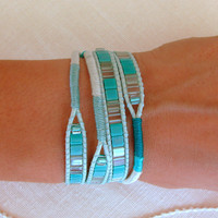 Macrame and Beaded Wrap Bracelet in Teal by MaisJewelry
