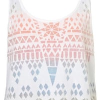 Double Layer Geo Burnout Vest - Jersey Tops  - Apparel  - Topshop USA