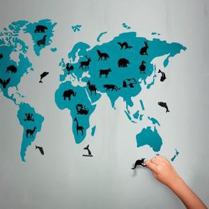 Wall sticker Animal World Map wall art graphic decals original stickers idea by Hu2 Design