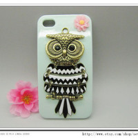 10OFF Discount Green Case Antique Brass Cute Owl by sevenvsxiao