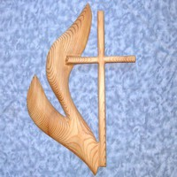 Cross of United Methodist Church - Wood Carved UMC Cross and Flame - | signsofspirit - Woodworking on ArtFire