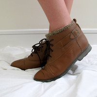 Vintage Brown Lace Up Roper Boots Ankle High Wool Lined Leather Size 7 1/2 Half Chocolate Camel