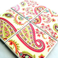 Bandana Ceramic Tile Coasters Set Pink Tangerine by QueenOfDeTile