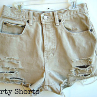 High Waisted Shorts Camel Colored Distressed Denim by shortyshorts